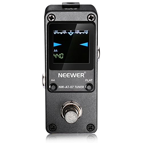 Tuner Mini Guitar (Neewer® Mini Chromatic Guitar Tuner Pedal True Bypass with Visible Luminous LED Display for Electronic Guitar and Bass- Super Quick and Accurate - Black)