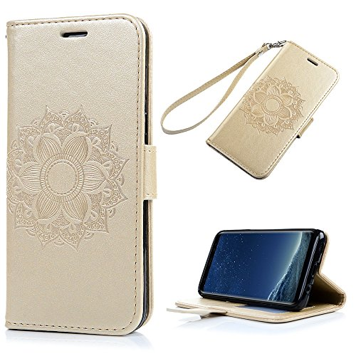 Galaxy S8 Case, KASOS Luxury Embossed Mandala Flower PU Leather Wallet Case Back Closure TPU Inner Kickstand Card Holders & Hand Strap for Samsung - Earthly Gold