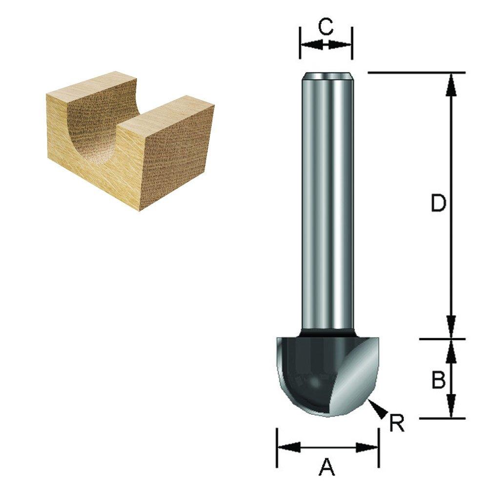 ENT 12376 Hohlkehlfr/äser HW Schaft D 40 mm Durchmesser C HM R 10 mm B 16 mm A 12 mm 20 mm