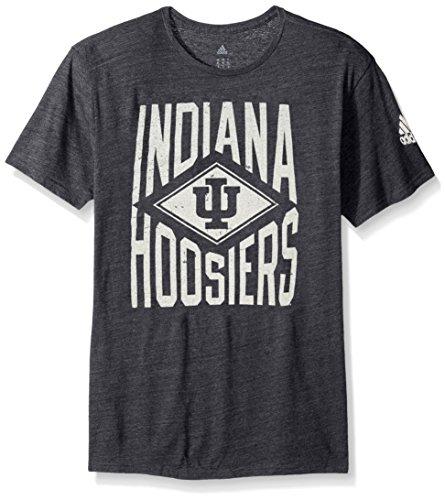 - adidas NCAA Indiana Hoosiers Adult Men Diamond Mine Tri-Blend S/Tee, Large, Black Heathered