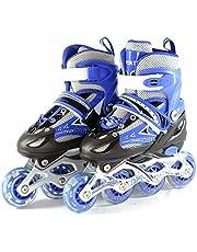 iNFANCiA FELiZ 8901CT Patines en línea recreativos de Fitness Ajustables Unisex para jóvenes y Adultos con Casco y protección (Azul, 31-34)