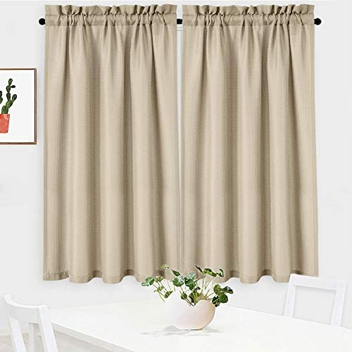 NANAN Waffle Woven Textured Short Curtains for Kitchen Waterproof Window Covering for Bathroom – 30 x 45 , Plaza Taupe, Set of 2