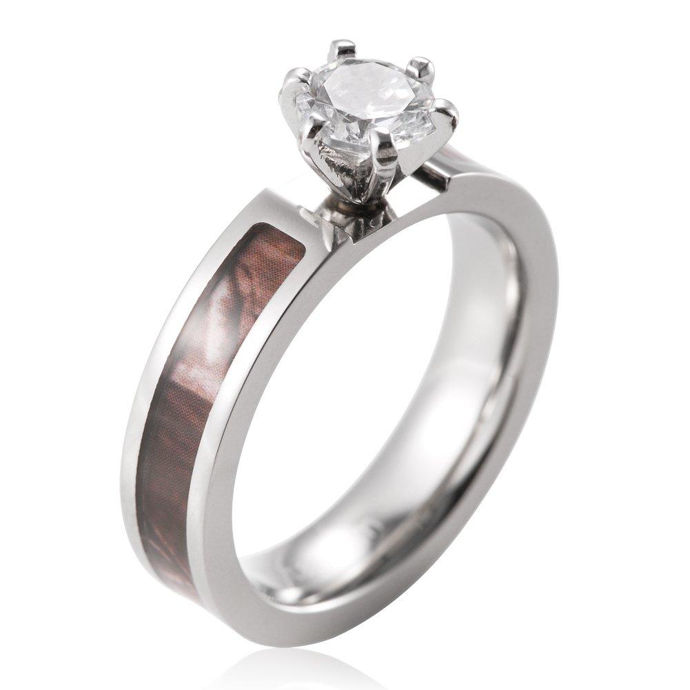 SHARDON Women's 5mm Titanium Brown Tree Camo Wedding Ring With Prong Setting White Round CZ Stone Shardon Jewelry TI5_BB_WCCZ