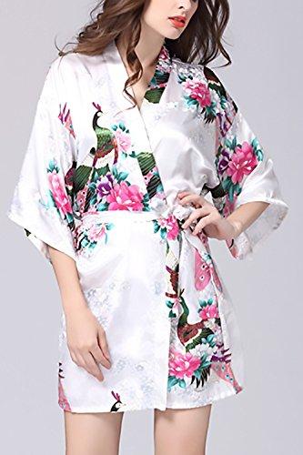 Semplice Elegante Donna Scollo Pastello Fiore Kimono Notte Cintura Da Vestaglie Con Glamorous Pavone Nobile Pigiama Bianca V Stampato Corto Camicia E0RnBOxwR