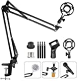 Upgraded Adjustable Microphone Suspension Boom Scissor Arm Stand with Shock Mount Mic Clip Holder 3/8'' to 5/8'' Screw…