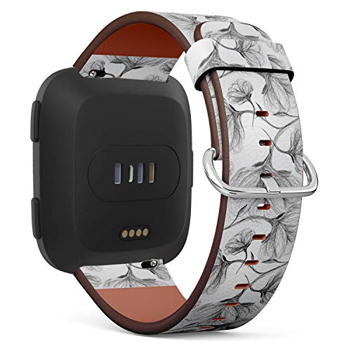 (Compatible with Fitbit Versa, Leather Wristband Bracelet with Quick-Release Spring Pins -Wild Dog Rose Blackandwhite)