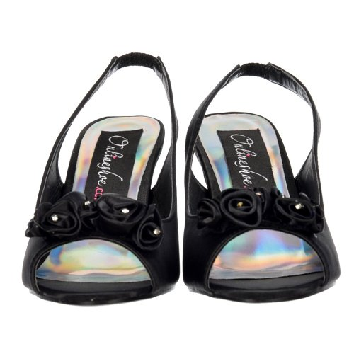 Onlineshoe Womens Damen Low Kitten Heel Peep Toe Schuhe Formal - Diamante Flower - Black Satin Black Satin