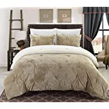 Chic Home 3 Piece Josepha Pinch Pleated Ruffled and Pintuck Sherpa Lined Comforter Set, King, Beige