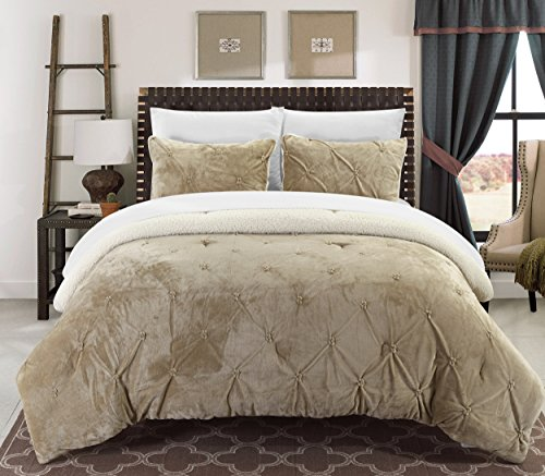 Chic Home Josepha 3 Piece Pinch Pleated Ruffled and Pintuck Sherpa Lined, King Comforter, Beige (Beige Comforter Set)
