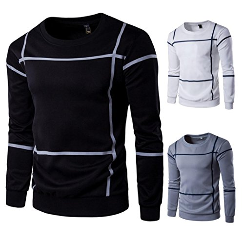 Hot Sale ! Jushye Men's Long Sleeve Blouse Fashion Striped Men Tee Pullover Coat O Neck Sweater Outwear Tops