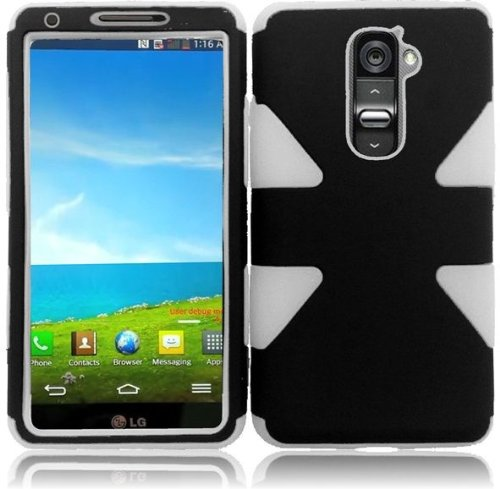 - BlackOWhite Double Protection Hi-Tech DURABLE Two in One Hard and Silicon Cover Case for LG G2 VS980 D800 (by AT&T / T-Mobile / Sprint / Verizon) with Free Gift Reliable Accessory Pen