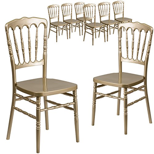 Flash Furniture 8 Pk. HERCULES Series Gold Resin Stacking Napoleon Chair