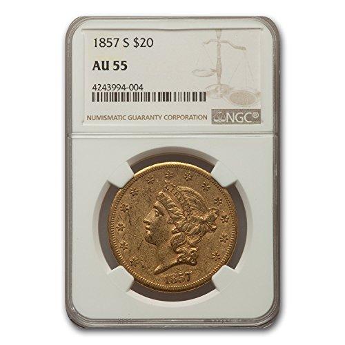 1857 S $20 Liberty Gold Double Eagle AU-55 NGC G$20 AU-55 NGC