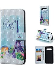 Glitter Wallet Case for Samsung Galaxy S10 Plus and Screen Protector,QFFUN Bling 3D Pattern Design [Tower] Magnetic Stand Leather Phone Case with Card Holder Drop Protection Etui Bumper Flip Cover