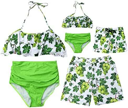 6948ea0713 AMILIEe Mommy Daddy and Me Family Matching One Pieces Monokini Ruffles  Swimsuit Floral Palm Print 2019