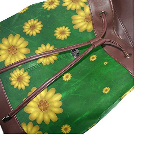 Kvinnor PU-läder abstrakt design modern konstnärlig ryggsäck handväska resa skola axelväska ledig dagväska
