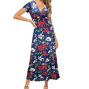 Vestido de Manga Corta Estampado Floral con Cuello en V Informal ...