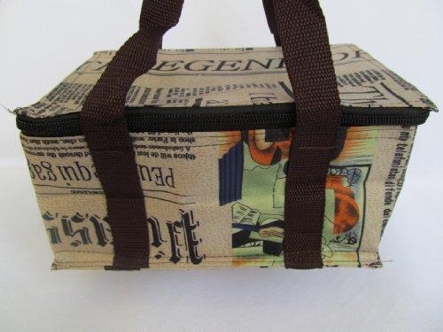 Vintage stil zeitung aufdruck recycled umweltfreundlich, wasserfest & isoliert (heißen & kalt) damen, mädchen, kinder, lunchbox, handtasche von Fett-catz