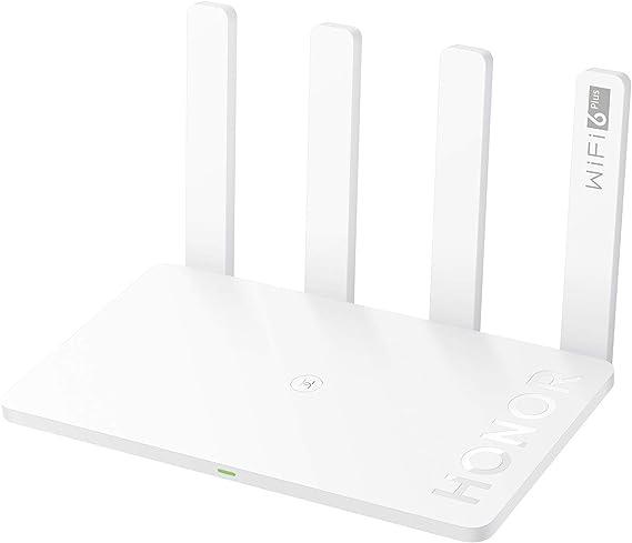 HONOR Router 3-Enrutador Inalámbrico de Doble Banda, WiFi 6, Velocidad de Wi-Fi hasta 3000 Mbps(5GHz + 2.4 GHz), 4 Antenas, 4x Puertos Gigabit, Blanco