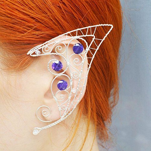 Plated Filigree Wrap (Womens Elven Ears Hypoallergenic Earrings Temptation Ear Cuff Wrap Clamp Fashion Jewelry Gems, 1 Pair, Crystal Filigree Silver Plated)
