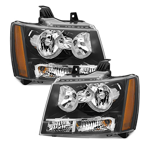 Set Black Housing - Partsam Driver and Passenger Side Pair Halogen Headlights Headlamps Assembly Set GM2503263 GM2502263 22853025 22853026 Black Housing for 2007-2014 Chevrolet Suburban 1500 2500 Tahoe Avalanche
