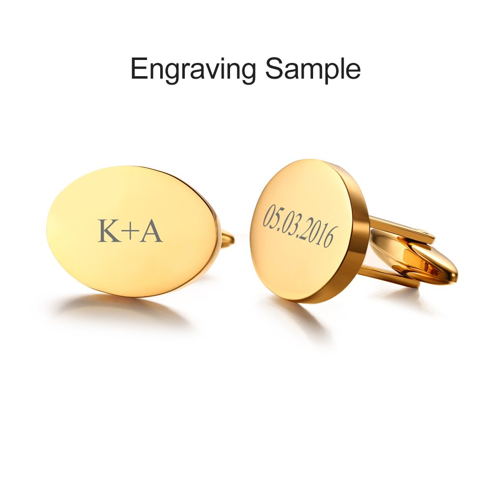 VNOX Free Engraving-18K Gold Plated Stainless Steel Round Classic Cufflinks for Men Business Weeding