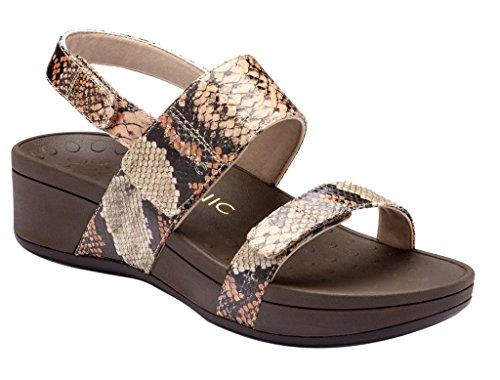 Taupe Snake (Vionic Women's Bolinas Tan/Taupe Snake Sandal)