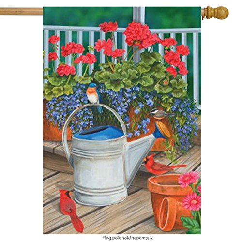Watering Can Songbird Porch Large Flag