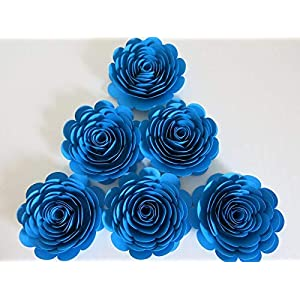 6 Pc Set, Bright Blue Paper Roses, 3 Inch Blossoms, Wedding Flowers, Bridal Shower Decor, Baby Nursery Decor, Event Planning Floral Decorations 68