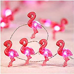 10 ft 40 LED Tropical Themed Fairy Light Pink Flamingo Party String Lights Decoration, Silver Wire Remote Summer Birthday Bedroom Beach Wedding DIY Wreathe Christmas Tree Ornamental