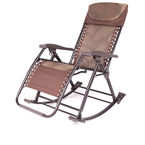 (GJM Shop Recliners Textilene Fabric Siesta Chair Brown Jacquard/Black Jacquard Rocking Chair Folding Chair Adult Office Old Man Household Chair Beach Balcony Deck Chair Lounge Chair)