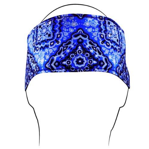 ZANheadgear Cotton 'Paisley' Design Headband with Velcro Closure (Navy, One Size) - Red Hats Heavyweight Hat