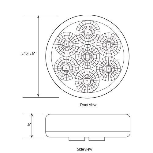 Grand General 76660 Amber 2-1//2 Low Profile Spyder 7-LED Marker//Clearance Light