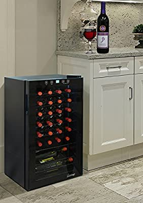 Vinotemp VT-28 TS 28 Bottle Wine Cooler with Touch Screen CEC, Black