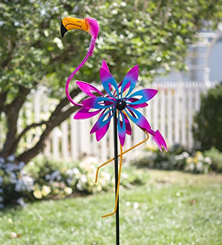 Plow & Hearth Outdoor Flamingo Metal Garden Wind Spinner Sculpture with Bobble Accents, 21 L x 6.5 W x 68 H (Spinner Wind Flamingo)