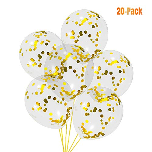 Check expert advices for transparent balloons with gold confetti?