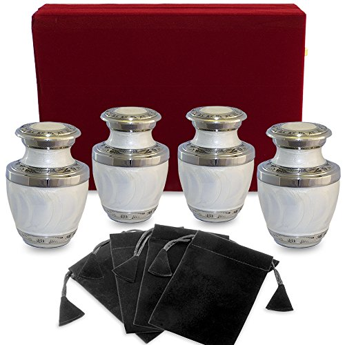 Everlasting Love White Small Keepsake Urns For Human Ashes - Set of 4 Sharing Urns- Beautiful and Timeless Find Comfort Every Time You Look At These High Quality Mini Cremation Urns - W Velvet Case