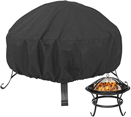 Round Fire Pit Cover BBQ Cover Yard Black 1pc Patio Fire Pit Cover Waterproof