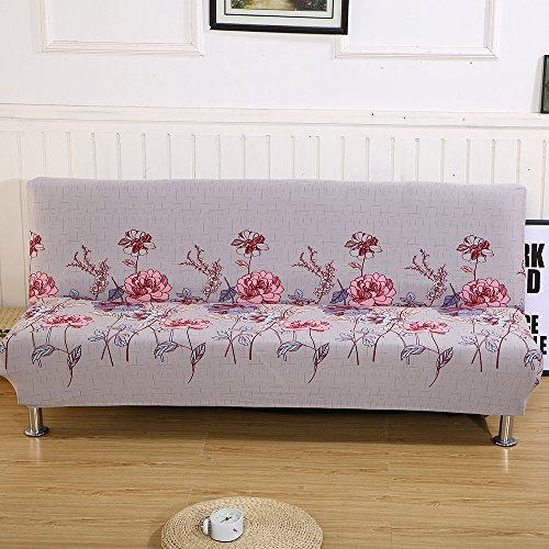 Folding Armless Polyester Floral Pattern Sofa Futon Cover Modern Simple Home Folding Furniture Protector Couch Slipcovers (Secret garden) from LINGJUN
