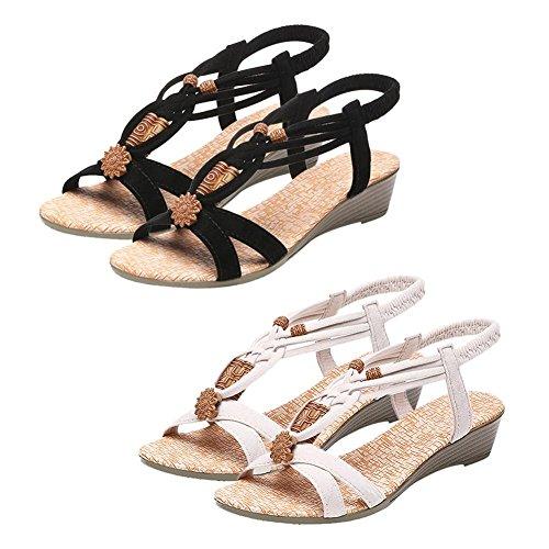 del Mujeres Cuña Planos Playa Verano Sandalias Negro de de Cuentas Talón Casual Zapatos de de Goma Suela Ecotrumpuk la PRT5qP