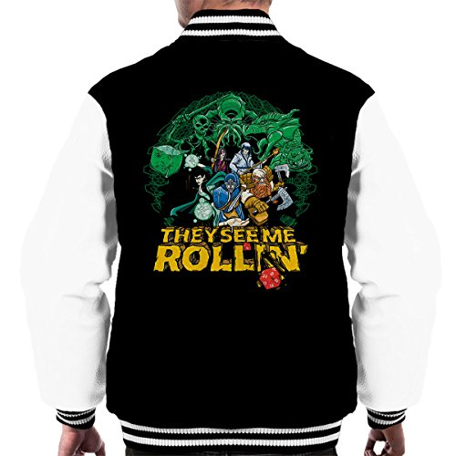 See Dragons Me They Rollin Varsity Black And white Men's Dungeons Jacket ZfqfgwxOd