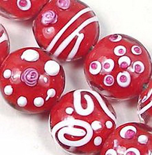 Glamorise Beads #13426 Lampwork Handmade Red Garden Lentil Beads 15mm ()