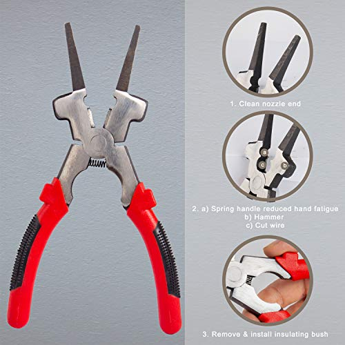 """KOTTO Welding Tools, MIG Welding pliers Multi-function 8"""" Anti-Rust MIG Pliers with Welding Chipping Hammer and Wire Brush"""
