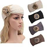 4 Pack Knit Headbands Winter Braided Headband Ear Warmer Crochet Head Wraps for Women Girls H7 (4ColorPackL)