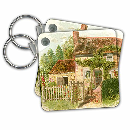 Country Cottage Fence - Florene - Decorative III - Image of English Country Cottage Painting - Key Chains - set of 2 Key Chains (kc_224314_1)