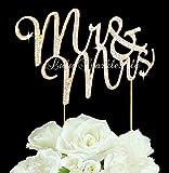 Lulu Sparkles LLC Gold Tone Mr & Mrs Rhinestone Crystal Wedding Cake Topper Keepsake Custom Cake Topper Bling