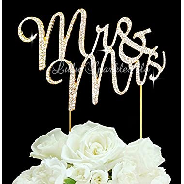 Lulu Sparkles LLC Gold Tone Mr & Mrs Rhinestone Crystal Wedding Cake Topper Keepsake Custom Cake Topper Bling