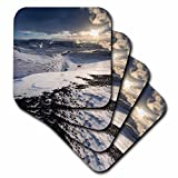 3D Rose Hot Steam Rising from The Geothermal Power Plant Bjarnaflag-Iceland Ceramic Tile Coasters, Multicolor