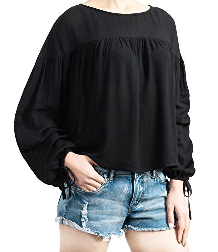 Boho Peasant Top Blouse - ililily Women Loose Fit Gathered Chiffon Blouse Boho Ruffle Bohemian Top , Black, US-Medium