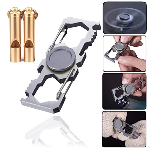 Price comparison product image Metal Hand Fidget Spinner Toy + Brass Emergency Whistle - Bottle Opener Carabiner D Ring Clip,  Keychain,  Wrench,  Nail File Durable Metal High Smooth Speed Stress Relief Office Desktoy Gadget (gray)